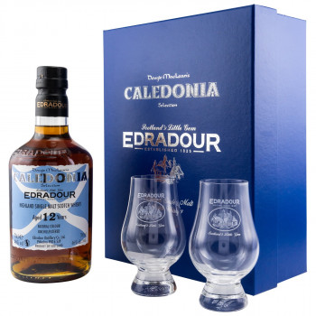 Edradour Caledonia 12 Jahre Single Malt Scotch Whisky + 2 Gläser Geschenkebox 46% Vol. 700ml