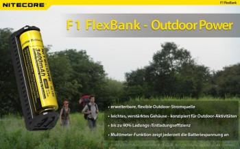 Nitecore F1 FlexBank Outdor-Ladegerät für Li-Ionen Akkus