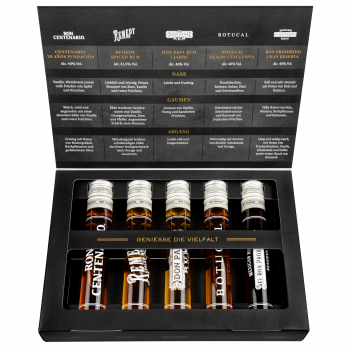 Premium Rum Tasting Set 5 x 50 ml : Ron Botucal Exclusiva, Remedy Spiced Rum, Ron Centenario 20, Don Papa 7 Jahre und Prohibido Gran Reserva 250ml