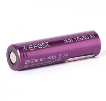 Efest Purple IMR 18650 2600mAh 3,6V - 3,7V Li-Ionen (FlatTop) ungeschützt